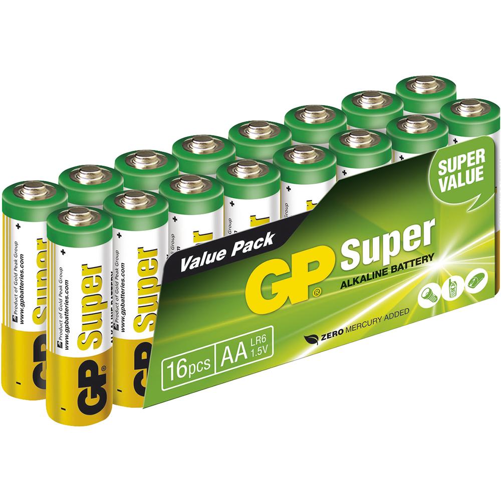 Afbeelding van 03015AS16 batterij Super Alkaline AA 16 stuks